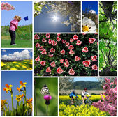 Set of spring photos with active — Stock Photo