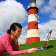Beautiful young lady with Laptop in  Plymouth, England, UK — Foto Stock