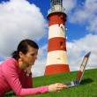 Beautiful young lady with Laptop in  Plymouth, England, UK — Стоковая фотография