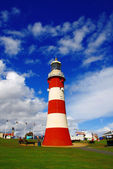 Plymouth with colorful lighthouse in Devon, England — Stock Photo