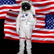 Astronaut with american flag — Stock Photo
