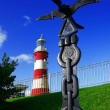 Colorful Lighthouse in Plymouth, Devon, England - Stock Photo