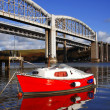 Old  railway bridge with boats in  Plymouth, UK — Stock Photo