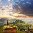 Stockfoto: White wine with barrel on vineyard in Chianti, Tuscany, Italy