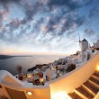 Windmill against colorful sunset, Santorini island in Greece — Stock Photo