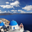 Amazing Santorini with churches and sea view in Greece — ストック写真