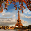 Eiffel Tower with autumn leaves in Paris, France — Stock fotografie