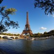 Eiffel Tower with boat in Paris, France — Stock Photo