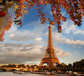 Eiffel Tower with autumn leaves in Paris, France — Stok fotoğraf