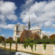 Notre Dame with boat on Seine in Paris, France — Stock Photo