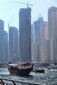 Dubai Marina with skyscrapers and boats in Dubai, United Arab Emirates — Stock Photo