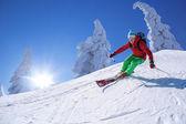 Sciatore in discesa sci in alta montagna durante una giornata di sole — Foto Stock
