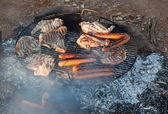 Barbecued meat and sausages. Bush Camping. Flinders Ranges. South Australia. — Stock Photo