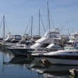 Yachts and motor boats at harbor moored at marina. Port Stephen — Stock Photo #39696927