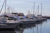 Yachts and motor boats at harbor moored at marina. Port Stephen — Stock Photo