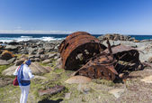 Rusting boiler from the shipwreck of the SS Monaro. Eurobodalla  — Stock Photo