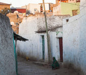 Narrow alleyway of ancient city of Jugol early in the morning. Harar. Ethiopia. — Stock Photo