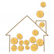 Money coin falling on house frame — Imagen vectorial