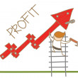 Man building profit up graph — Stock Vector