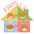 Family jigsaw house — Stock Vector
