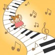 Girl joy her fantasry musical piano — Vettoriali Stock