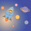 Kid enjoy space ship — Stock Vector