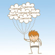 Man holding cloud computing  — Stock Vector