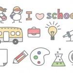 Set of kid love school — Stock Vector