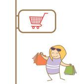 Woman enjoy shopping — Stock Vector
