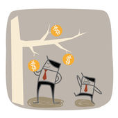 Businessman higher the richer — Stock Vector