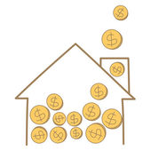 Money coin falling on house frame — Stock vektor