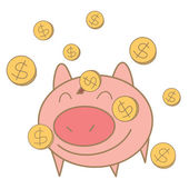 Money coin falling on pig money box — Stock Vector