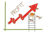 Man building profit up graph — Stock Vector
