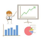 Business man present board — Stock Vector