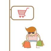 Man enjoy shopping — Stock Vector