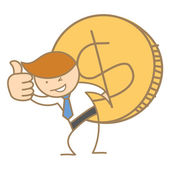 Business man carrying big dollar coin — Stock Vector