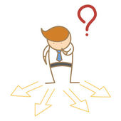 Business man confusing which direction to go — Stock Vector