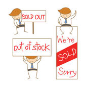 Business man show sold out sign set — 图库矢量图片
