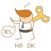 Business man wind-up saying yes no ok — Stock Vector