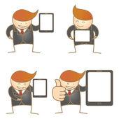Business man present tablet set — Stock Vector