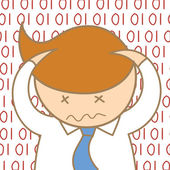 Man confusing information data — Stock Vector