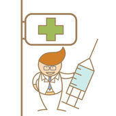 Doctor holding syringe in front of hospital — Stock Vector