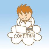 Hombre se sienta en cloud computing — Vector de stock