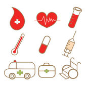 Dibujo de conjunto de iconos médica — Vector de stock