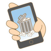 Correo electrónico no deseado en el teléfono móvil — Vector de stock