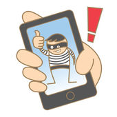 Burglar hacking mobile data — Stock Vector