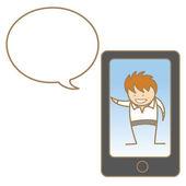 Man talking on cellphone — Stock Vector
