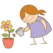 Girl watering flower plant — Stock Vector