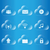 Cloud computing icon glass — Stock Vector