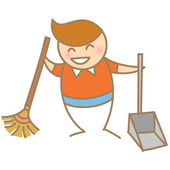 Boy enjoy doing housework — Stock Vector